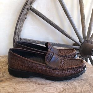 COLE HAAN Brown Woven Leather Classic Penny Loafer